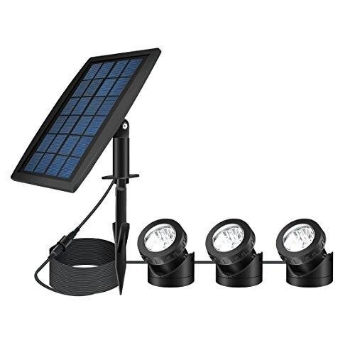 Projecteur de paysage de LED à alimentation solaire lumière de nuit de sécurité extérieure lumière solaire de réservoir de poisson, Angle d'éclairage réglable (paquet de 3)