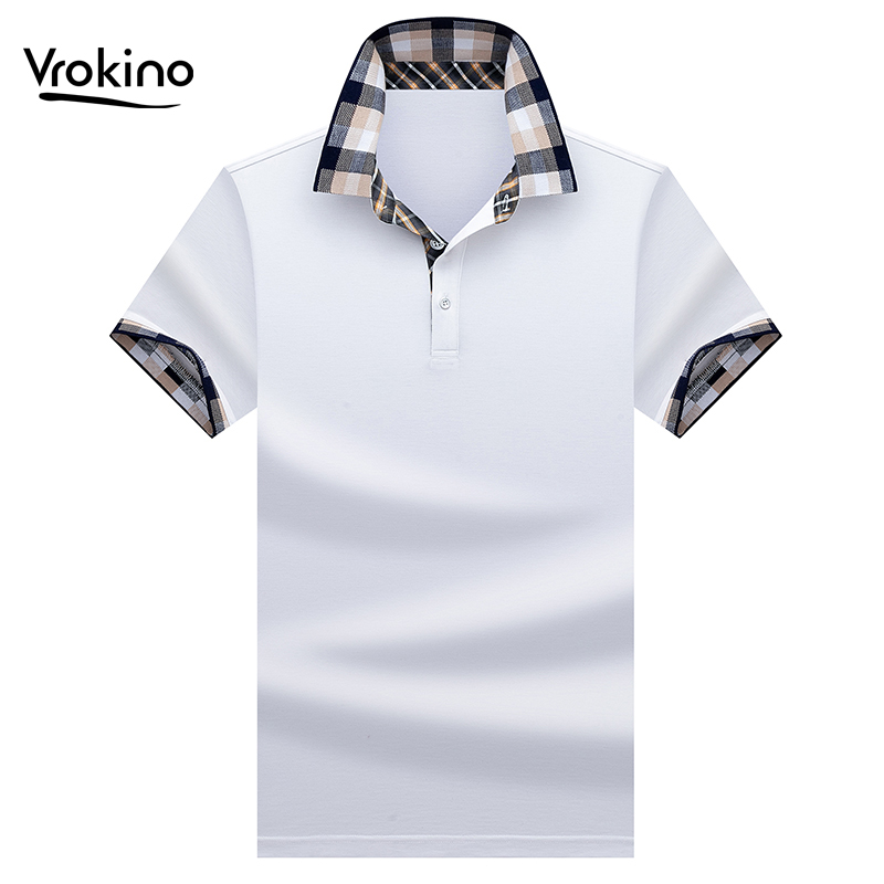 VROKINO 2019 Summer New Listing Men's Business Casual Cotton Solid Color   POLO   Shirt Small Knit Lapel Short Sleeve   Polo   Shirt