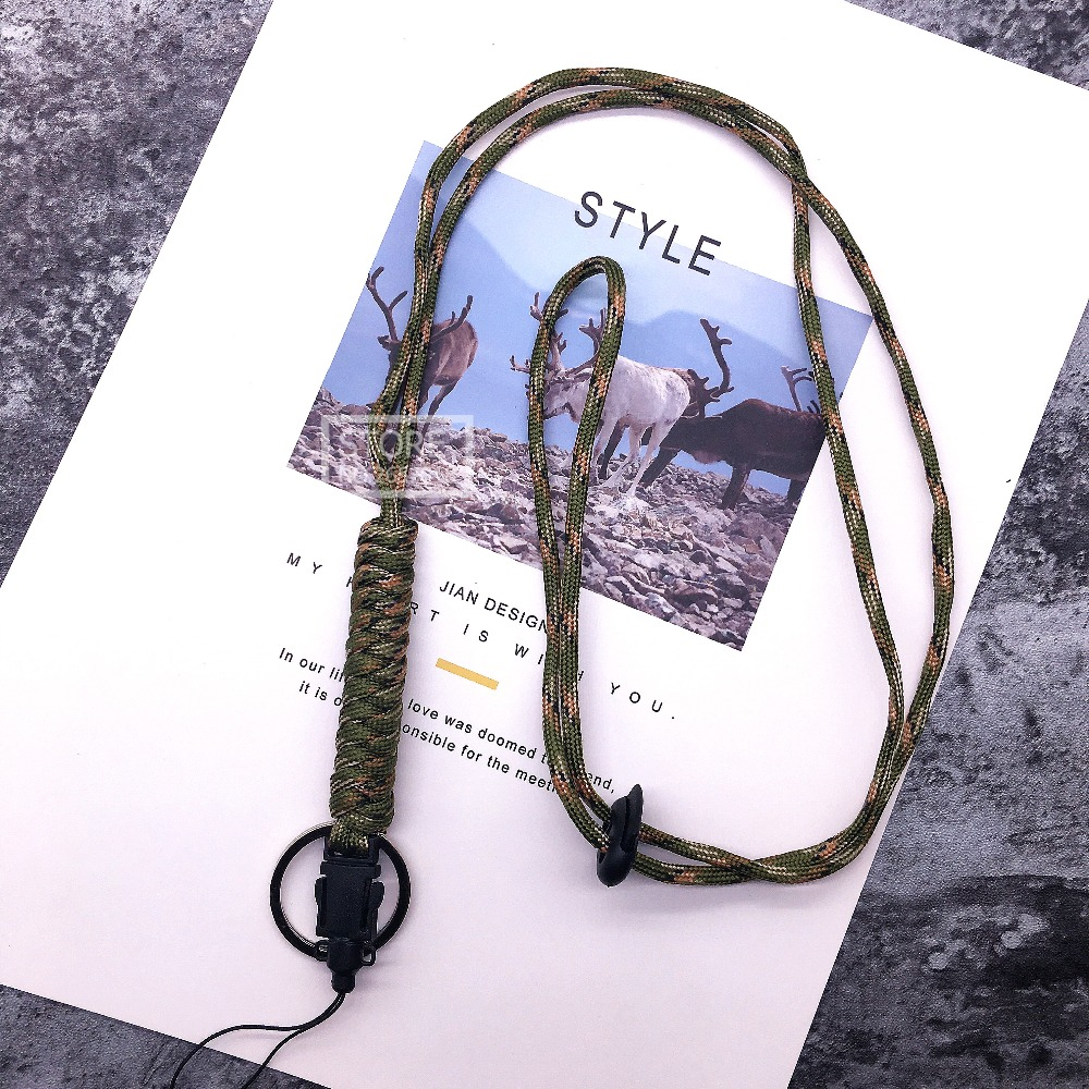 Woven Camouflage Rope Goldfish Mouth Lanyard Key Lanyard Knife Pendant Tag Lanyard Mobile Phone Anti-skid Rope For Keys ID Card