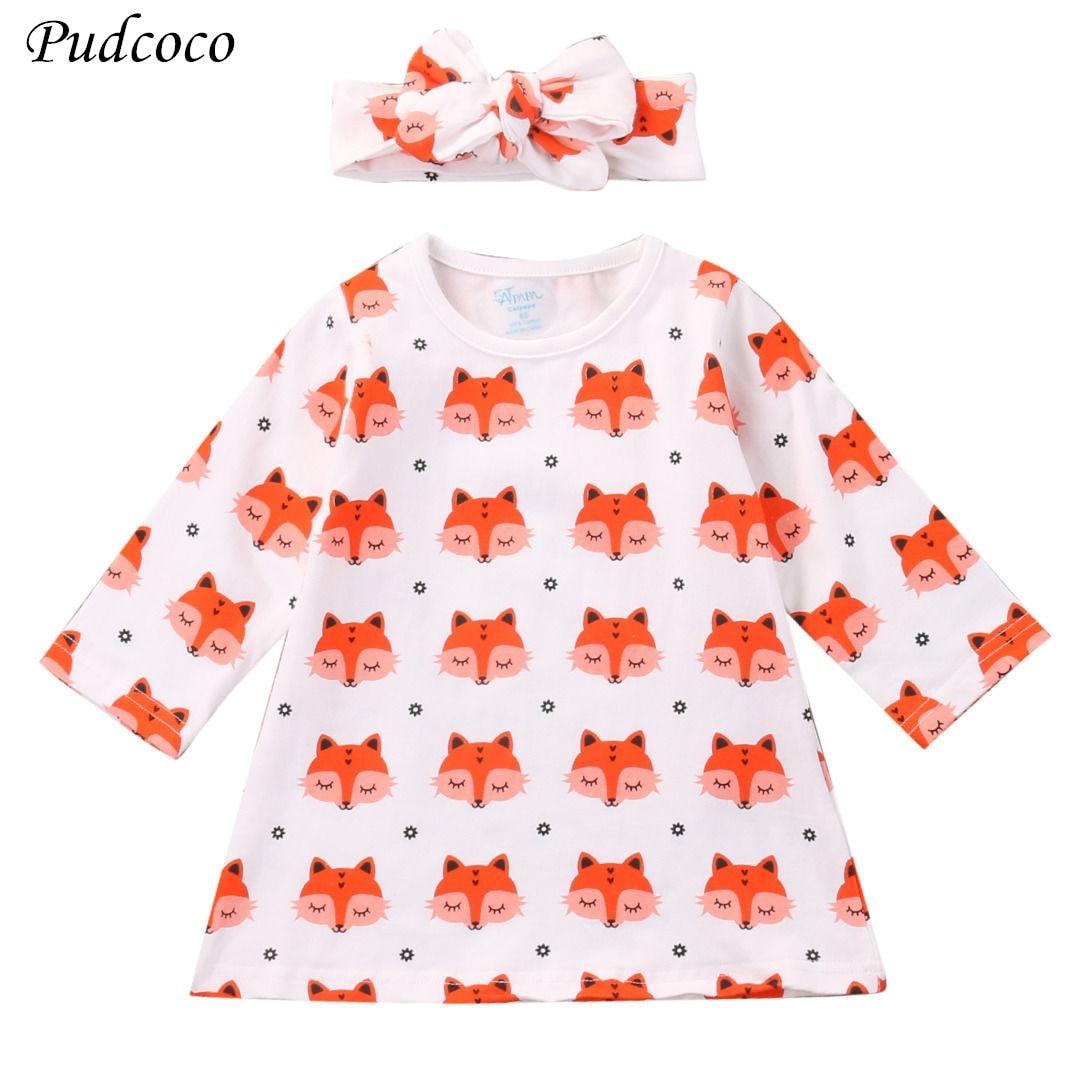 2Pcs Baby Girl Fox Dress Newborn Baby Girls Pajamas Cotton Dress Headband Outfit Cute Sets Clothes