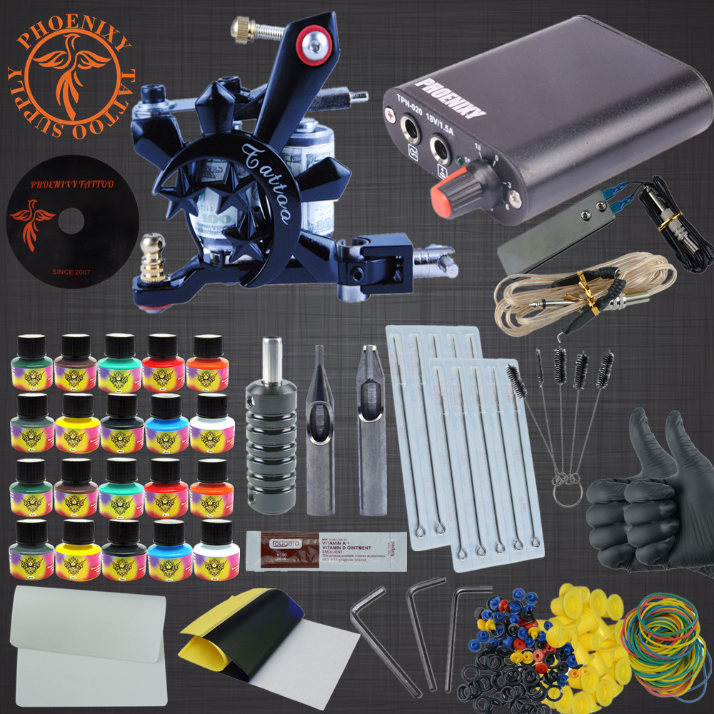 Tattoo Kit 20 Color Tattoo Ink Set Coil Tattoo Needles Guns Machine Power Supply Set Beginner Permanent Makeup Tattoo kit set
