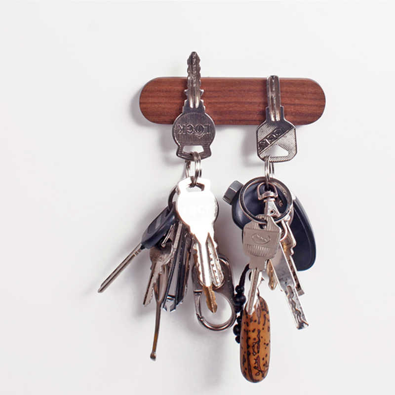 Wood Holder Wall Key Storage Strong Magnetic Organizer Rack Hanger Hooks Clerk