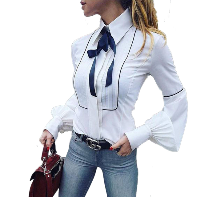 HOWMAYLEE Office Blouses Women Bow Tie Lantern Sleeve Button Down Shirts Famale White Tunic Tops 2018 Winter Autumn Cardigan