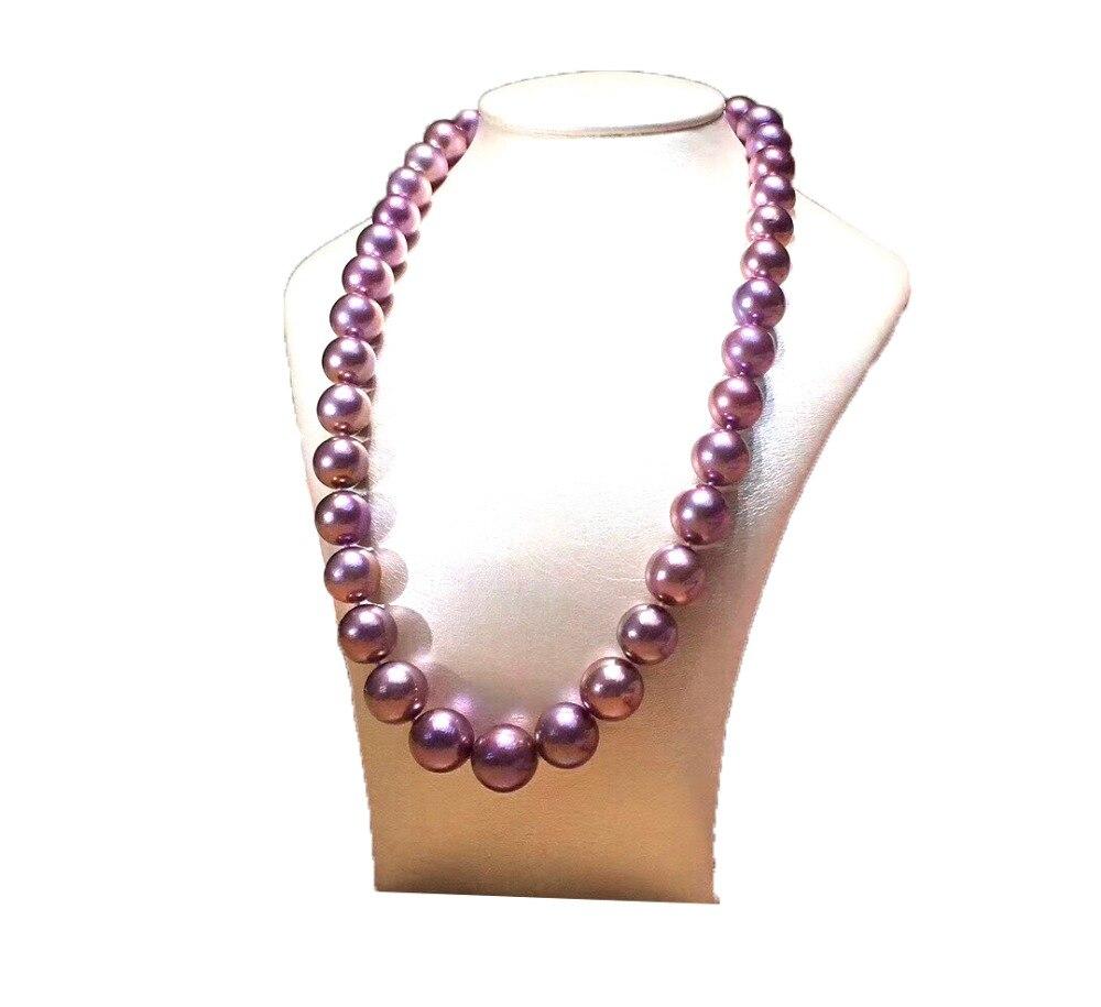 Collier de perles deau douce MADALENA SARARA AAA collier de perles rondes violettes avec fermoir s925Collier de perles deau douce MADALENA SARARA AAA collier de perles rondes violettes avec fermoir s925