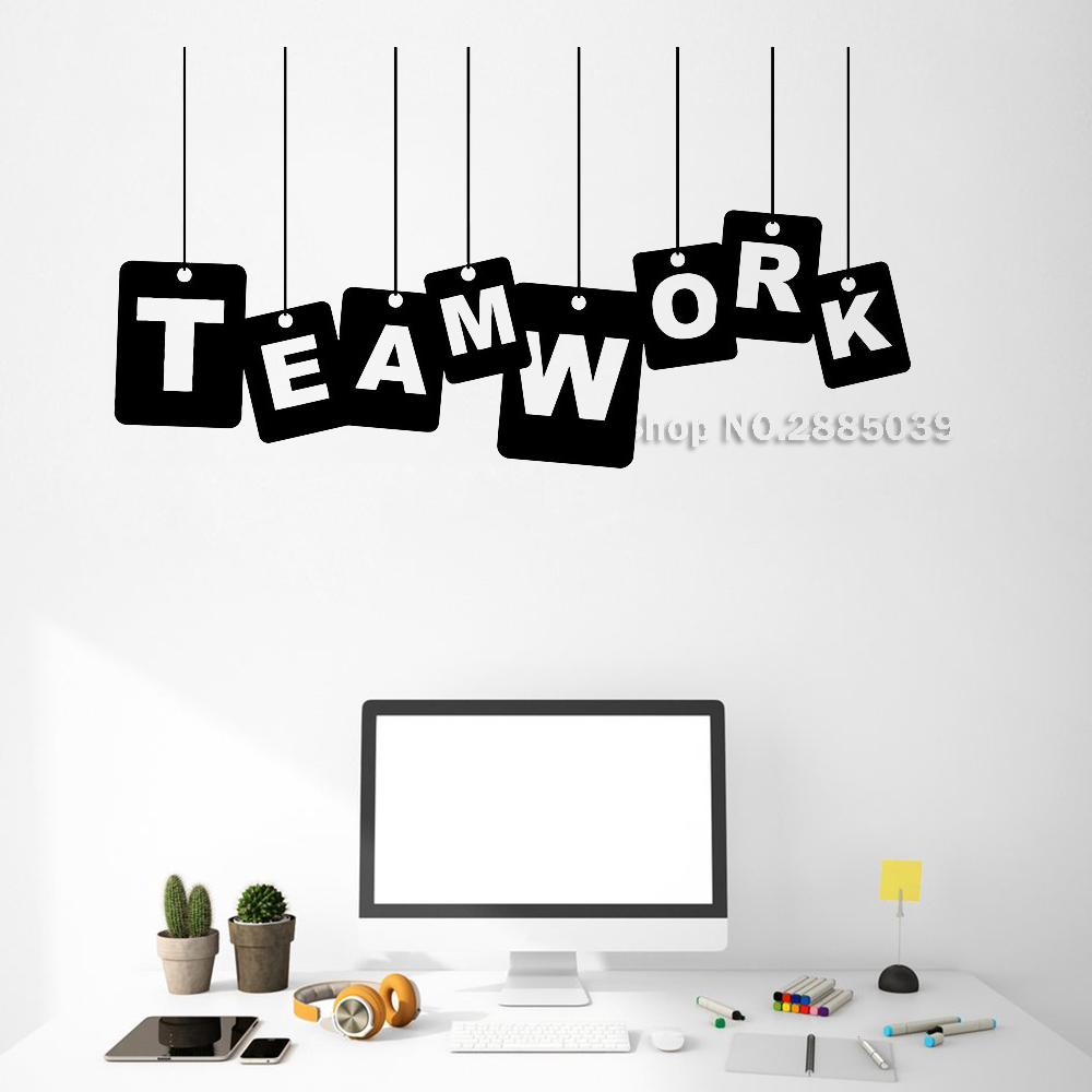 Teamwork Words Team Vinyl Wall Decals Office Worker Success Business Wall Decor Stickers Mural Vinilos Paredes Unique Gift LC533