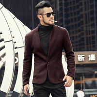 Mens new arrival winter autum slim grey woolen casual cotton suit Metrosexual men blazer brand design fashion suit jacket