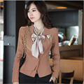 1pcs Women jackets blazers 2017Spring Fashion Cotton splicing long sleeves Slim Fit small Suit Jacket Skinny blazers Coat ladies