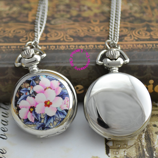 wholesale price good quality silver classic women lady sketch flower pattern pocket chain watch necklace hour clock antibrittle