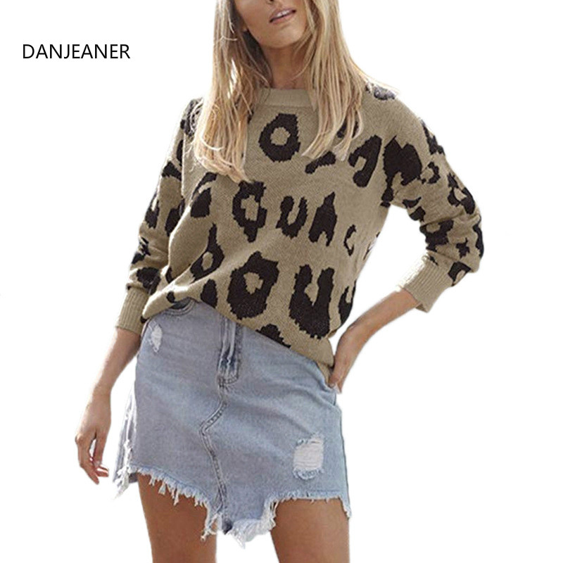 DANJEANER  Autumn Winter Leopard Print Knitted Pullovers Women 2019 Casual Fashion O Neck Sweaters Basic Tops Outwear Jumper