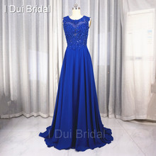 A line Chiffon Prom Dresses with Sweep Train Sexy Prom Dresses with Lace Appliques Open Back Prom Dresses Factory Custom Made(China)