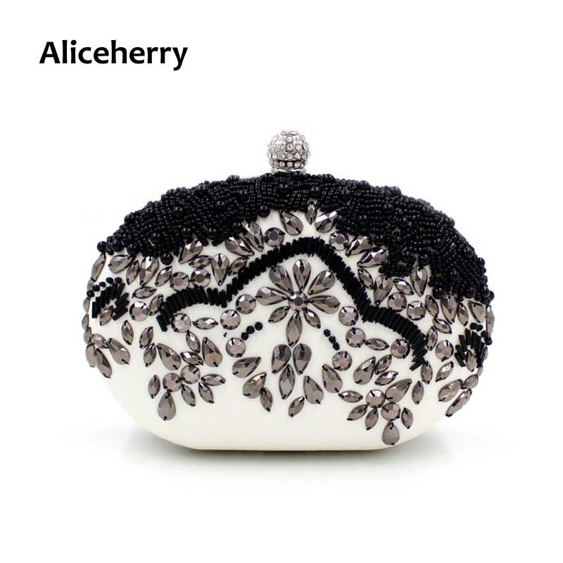 Aliceherry Women Party Bags Classic Black Lady Wedding Evening Clutch Bag Handmade Beaded Diamond Clutches Handbag Purse Girl 2017 lady hot sale black gold white silver clutch women elegant v diamond design wedding handbag female party bag evening bags
