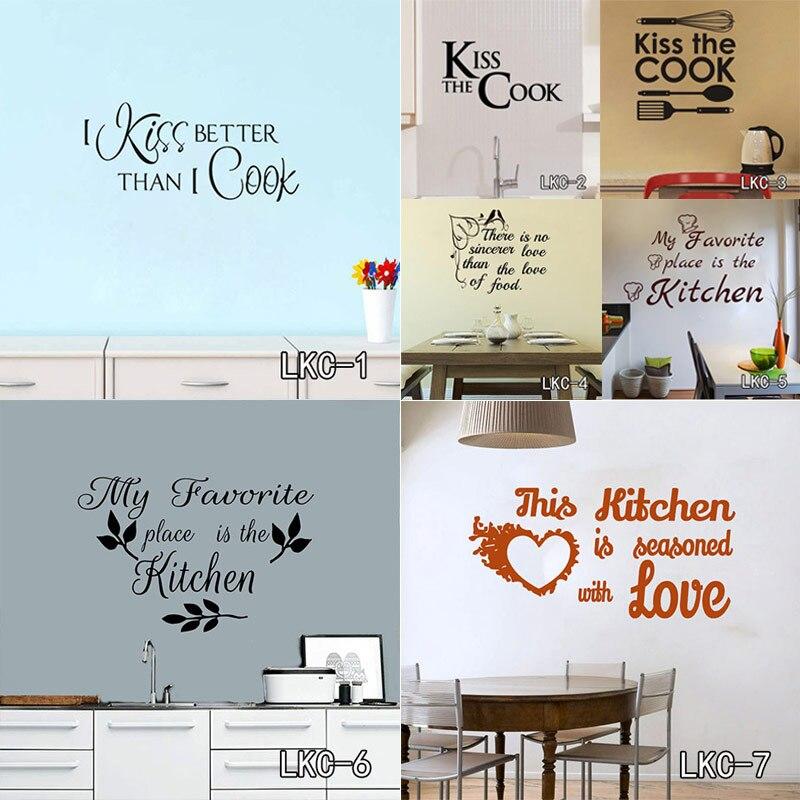 Cocina casa del amor vinilo pegatina de pared decoración del hogar pared Decoración Cocina vinilo calcomanías para la familia LKC