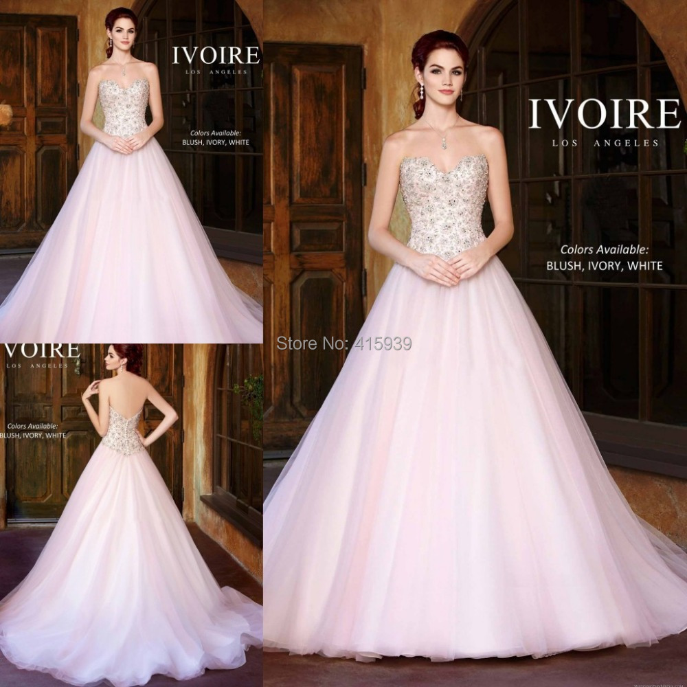 Blush Pink White Ivory Wedding Dress A Line Sweetheart Beaded Long ...