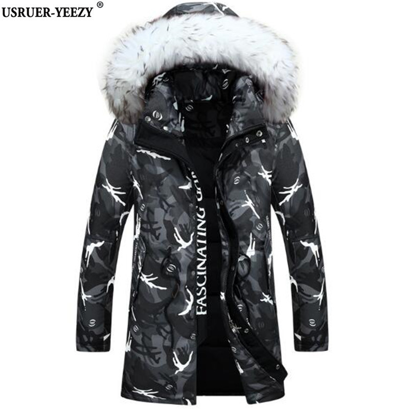 2017 New Winter Jacket Men's Fashion Camouflage Pattern Long Jackets Thickening Casual Hooded Fur Collar White Duck Down Coats 100% white duck down women coat fashion solid hooded fox fur detachable collar winter coats elegant long down coats