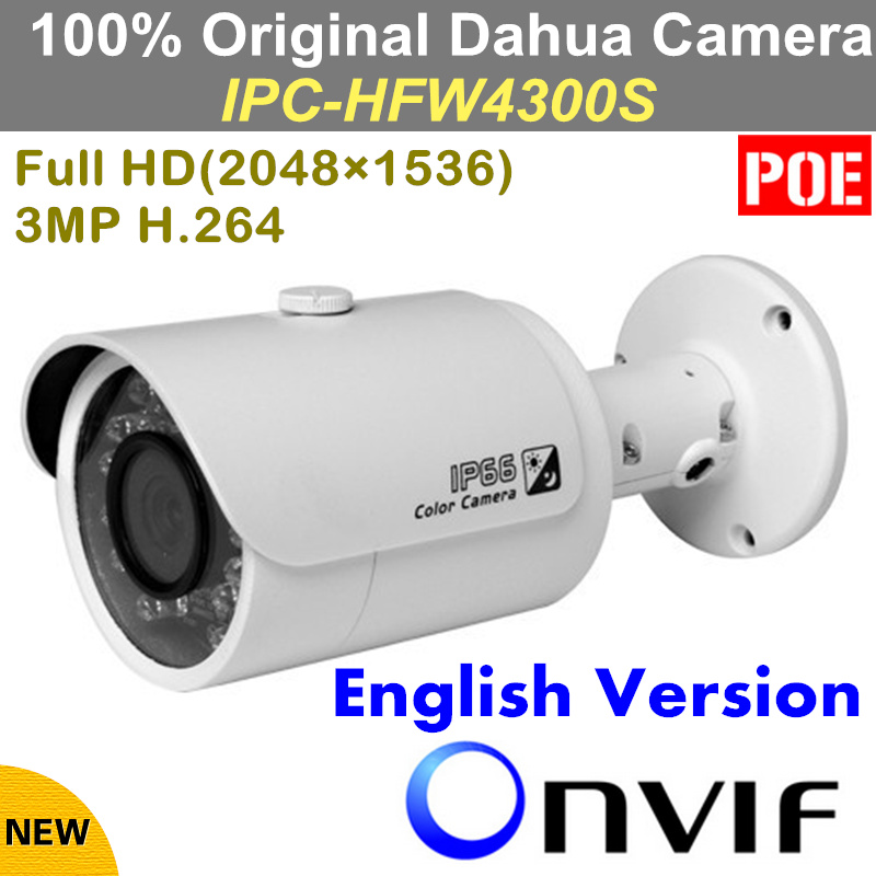 Free shipping Dahua IPC-HFW4300S IR HD 1080p IP Camera Security Outdoor 3MP Full HD Network IR Bullet Camera Support POE