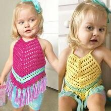 Для новорожденных для маленьких девочек Вязаный топ летняя одежда младенцев сплошной на завязках Кисточкой Крючком Полые Bellyband малышей Топ