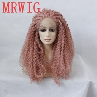 MRWIG Real Hair Looking Dark Pink Long Afro Kinky Curly Synthetic Lace Front Middle Part Afro Natural Wigs for Women