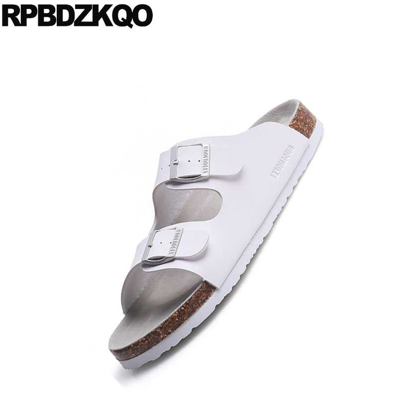 641880237 ... Fashion Shoes Outdoor Slides Plus Size White Waterproof 46 Slip On Flat Men  Sandals Leather Summer ...