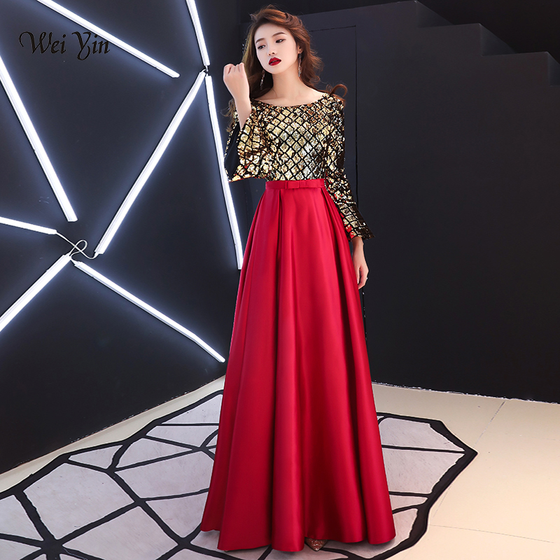 weiyin Long Sleeve Evening Dress 2019 V Neck Corset Sequin Gown Vestidos de festa Dubai Women Dresses Evening Party WY1153