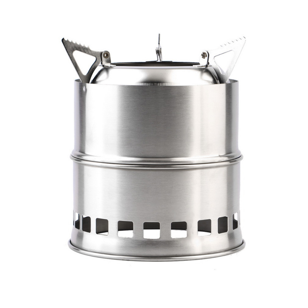 Outdoor wood gas wood-burning stove portable folding firewood stove camping gasification furnace Stainless Steel image