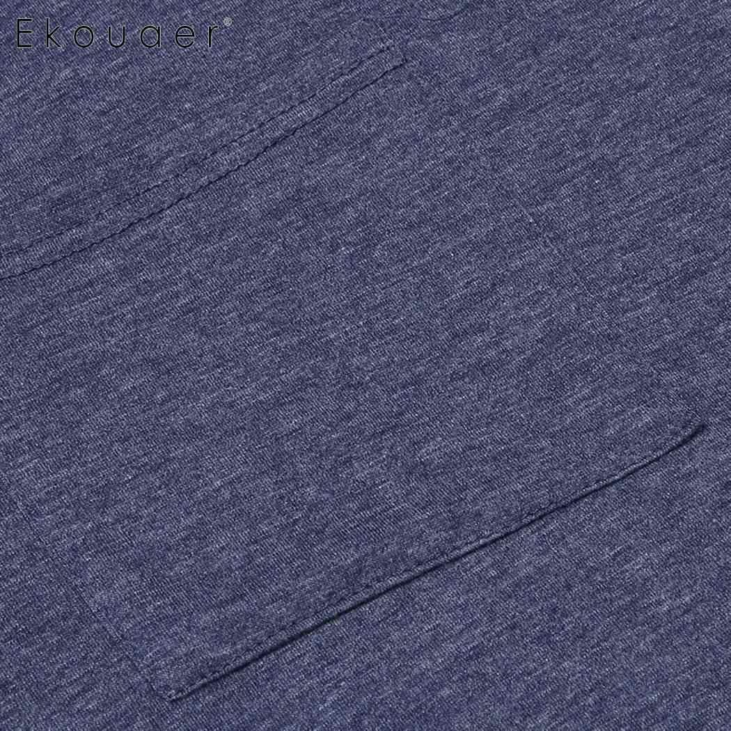 Ekouaer ผู้ชายชุดนอนสบายๆชุดนอนสบายแขนสั้นกลางคืนเสื้อใหญ่สูงเสื้อนอนชุดนอนเลานจ์ Homewear