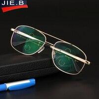 Men Titanium Alloy Quality Progressive Multi Focal Lenses Reading Glasses Fashion Big Frame Classic Multifocal Glasses
