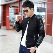 Autumn Spring Slim Male Single Breasted V-neck Bomber Jackets Men Casual Coat Outwear M-5XL Veste homme bombardier(China)