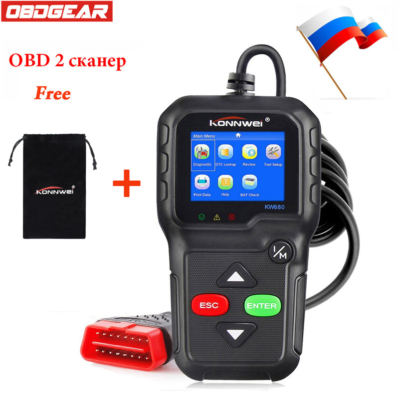 Best OBD 2  ODB 2 Automotive Scanner KW680 Full OBD2 Function ODB 2 Diagnostic Tool In Russian Portuguese Car Diagnosis Scanner