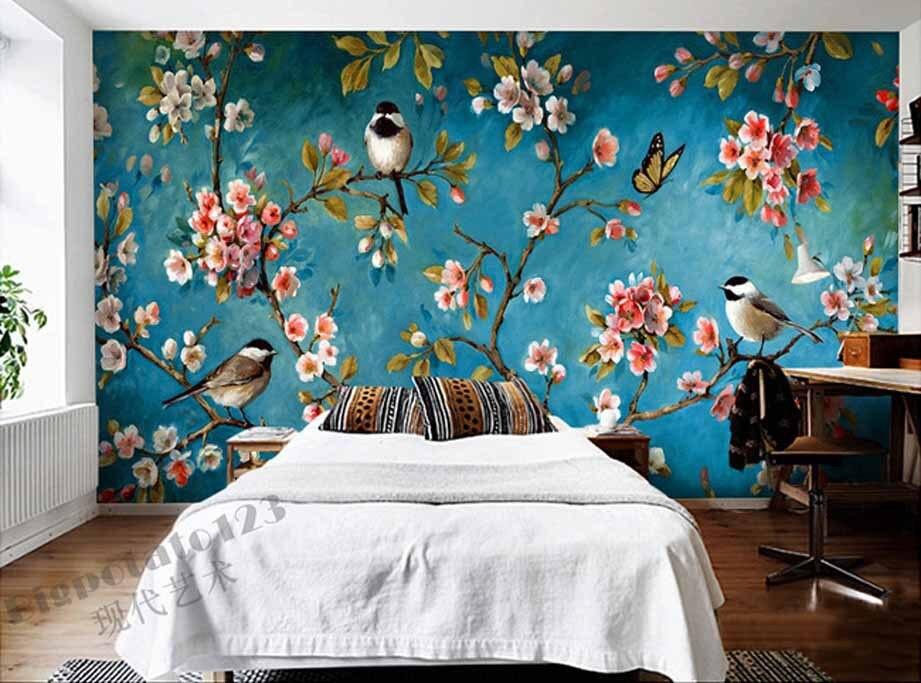 Indoor Wall Mural Wallpaper Plum Blossom Peach Apple