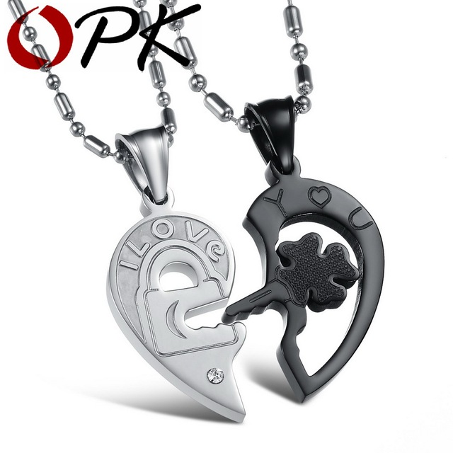 OPK JEWELRY New Personality Heart and Key Puzzle Couple Necklace
