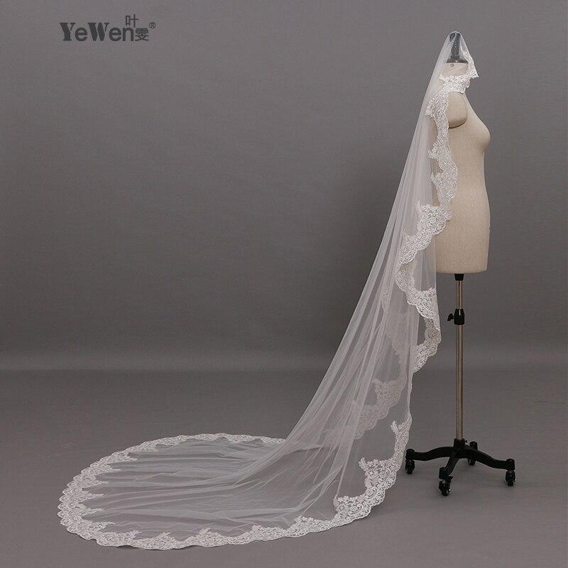 2016 Real  Bridal Long Lace Cathedral Wedding Veils 3 M*1.6M Meter Accessories Voile Mariage Mantilla Muslim Vail Velos De Novia