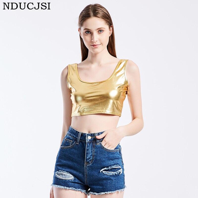 NDUCJSI Women Summer   Tanks   Outwear Sexy Crop   Top     Tank   Club Slim Black Gold   Tanks   Hot PU   Tops   Girls Vest Short Sleeveless   Tops