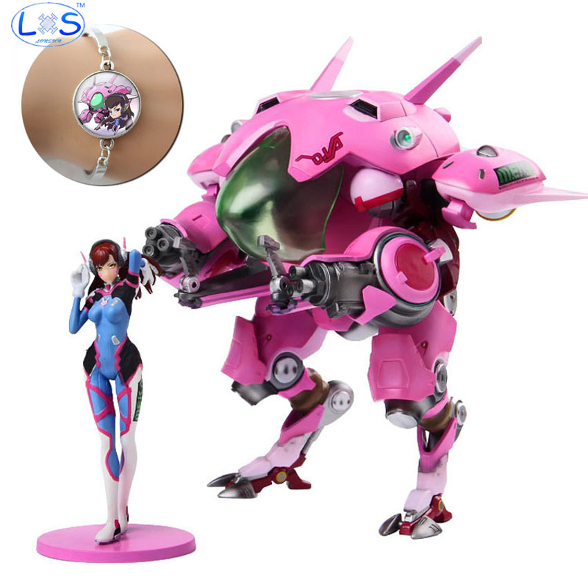 (LONSUN)OW DVA Genji ROADHOG Mccree Action Figure Model PVC Figures Action Toys Anime Game Doll Toy Free Bracelet Gift Toy new ow heroes dva hana song mecha d va pvc figure statue model gift toy collectibles model doll 480