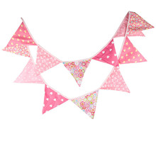 12 Flags 3.2m Pink Valentines Day Cotton Fabric Bunting Pennant Banner Garland Baby Shower/Outdoor DIY Home Decoration