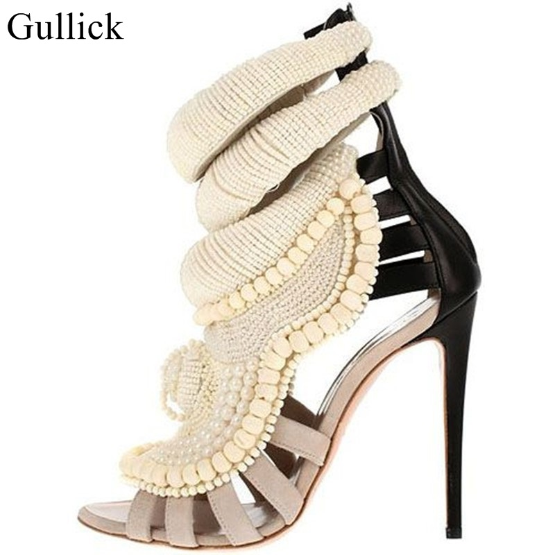 Pearl Beadings Sandals Women Thin Heels Knitting Patchwork Sandals Boots Zapatos Mujer Luxury Brand Women Ankle Boot Shoes Woman