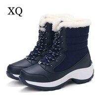 Mulheres botas 2017 botas de neve tornozelo inverno sapatos não-deslizamento à prova d' água plataforma das mulheres sapatos de inverno com pele grossa tamanho 35-41
