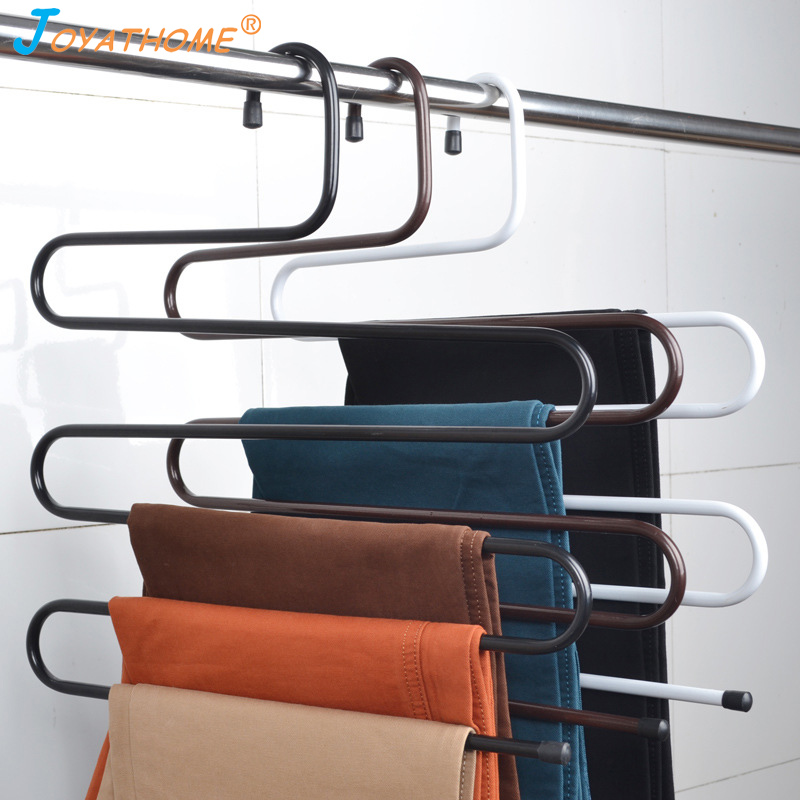 Joyathome Stainless Steel Wardrobe Storage Pants Trousers Towels Hanger Multi Layers Clothing Storage Rack Closet Space Saver-in Drying Racks & Nets from Home & Garden