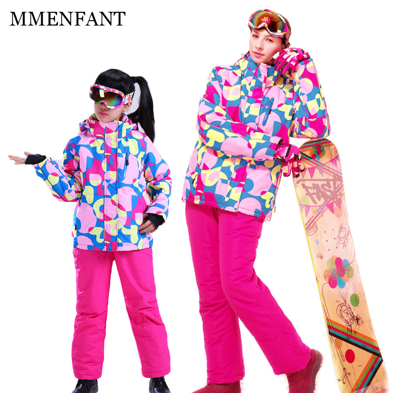 Mother and daughter clothes 2017 winter sets ski hooded jacket+pant windproof waterproof ski suit family christmas outwear coat men and women winter ski snowboarding climbing hiking trekking windproof waterproof warm hooded jacket coat outwear s m l xl