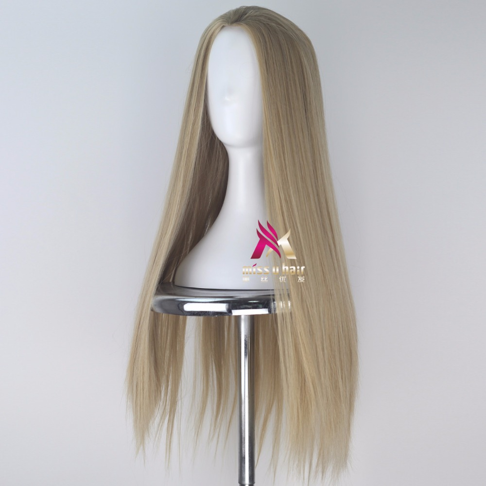 Synthetic None-lacewigs Miss U Hair Synthetic 80cm Long Straight Men Hair Ash Blonde Color Unisex Halloween Movie Cosplay Costume Wig