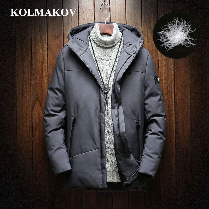 KOLMAKOV New Men's 85% Duck   Down   Jackets Thick Winter Outwear Mens Jackets and   Coats   2018 Warm M-3XL Duck   Down     Coats   Hooded   Coat