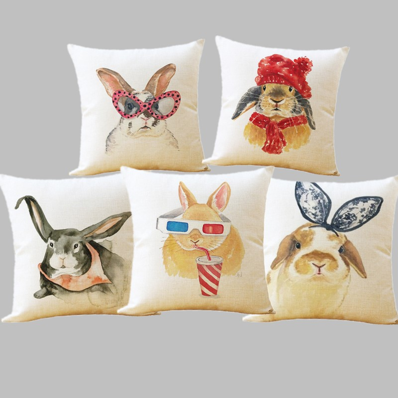 Realistic Cute Animal Watercolor Donkey Rabbit Pig Cushion Cover 43*43cm Duck Dog Eagle Rainbow Kitty Pillowcase Home Living Room Decorate Home & Garden Cushion Cover