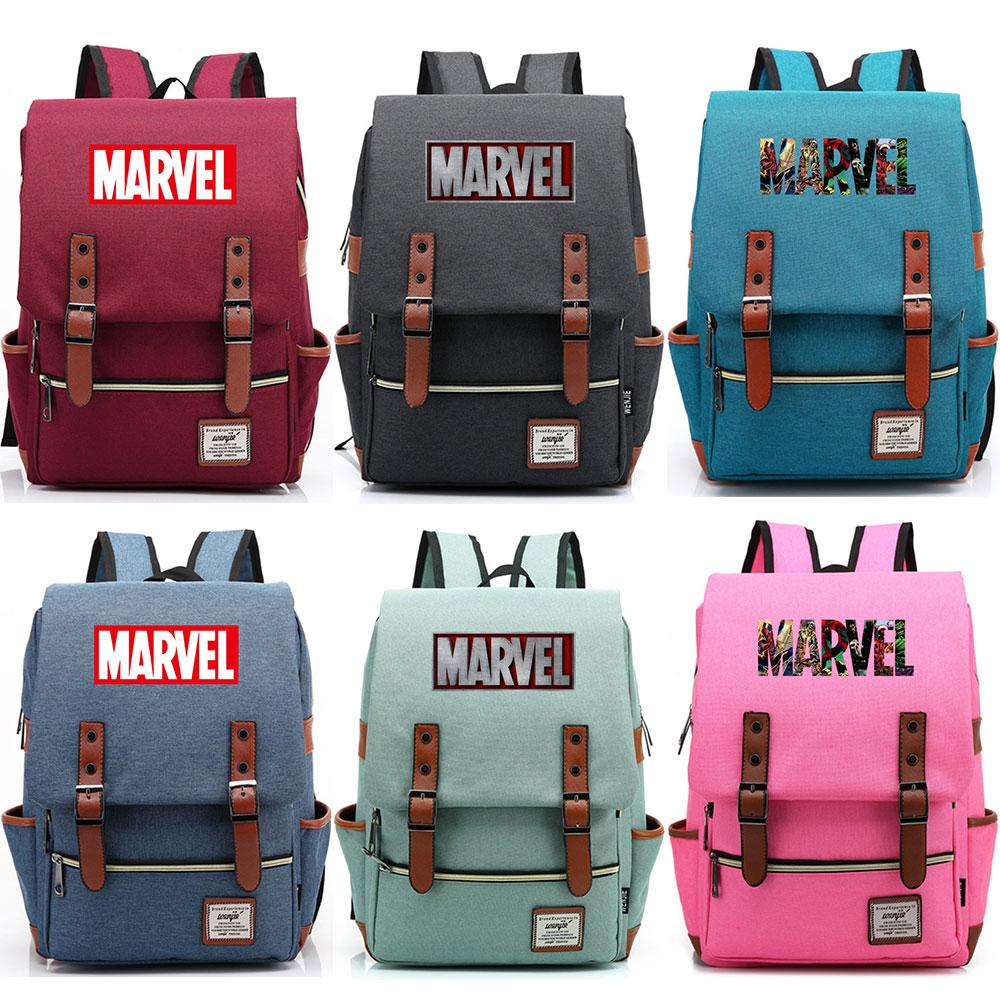 2019 New Multicolor Letter Marvel The Avengers Boy Girl Student Blet School Bag Teenagers  Canvas Women Bagpack Men Backpack
