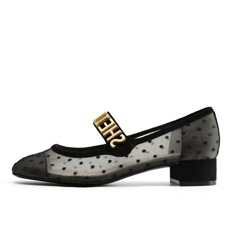 ผู้หญิงรองเท้าหนังแท้ผ้าตาข่ายสุภาพสตรีรองเท้าส้นสูงปั๊มร้อนขายแฟชั่นสแควร์ Toe ฤดูร้อนฤดูใบไม้ผลิรองเท้าขนาดใหญ่ขนาด 40-ใน รองเท้าส้นสูงสตรี จาก รองเท้า บน   1