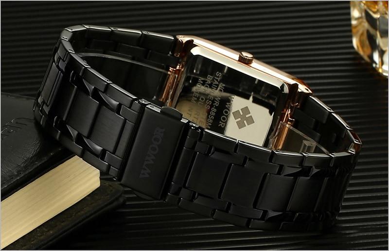 HTB1hBB8agKG3KVjSZFLq6yMvXXaT Men Watches Top Brand Luxury WWOOR Gold Black Square Quartz watch men Waterproof Golden Male Wristwatch Men watches