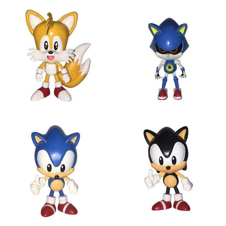 Sonic The Hedgehog Sonic Tails Shadow PVC Figures Collectible Model Dolls Kids Toys Best Gift 4pcs/set 7-8cm