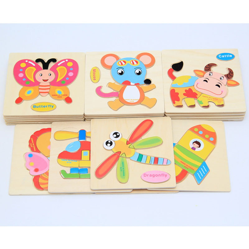 Joylong 3D Wooden Puzzles For Kids Cute Cartoon Wooden Animals Puzzle Educational Toys For Children 3 Years DIY Toy For Children