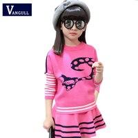 2017 outono crianças moda camisolas, dois conjuntos de peças, hot cadeia pescoço animais dos desenhos animados, 3-11 anos de idade menina camisola + saia