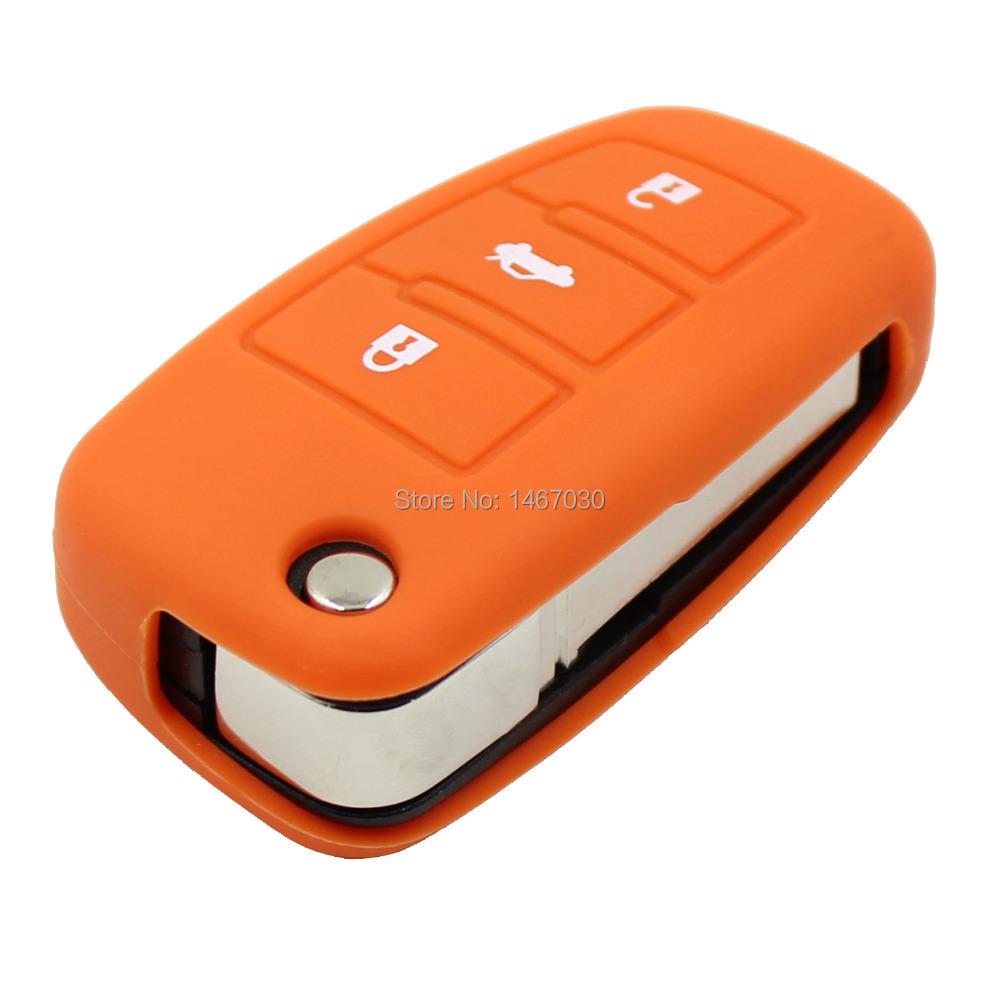 KEYYOU Orange Silicone Cover for AUDI A6 A8 3 Button Folding Flip Remote Key Fob Case