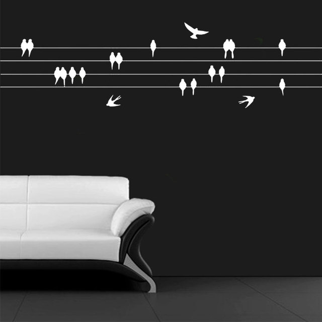 Aliexpress.com : Buy Perched Birds on wire Wall Sticker For Living ...