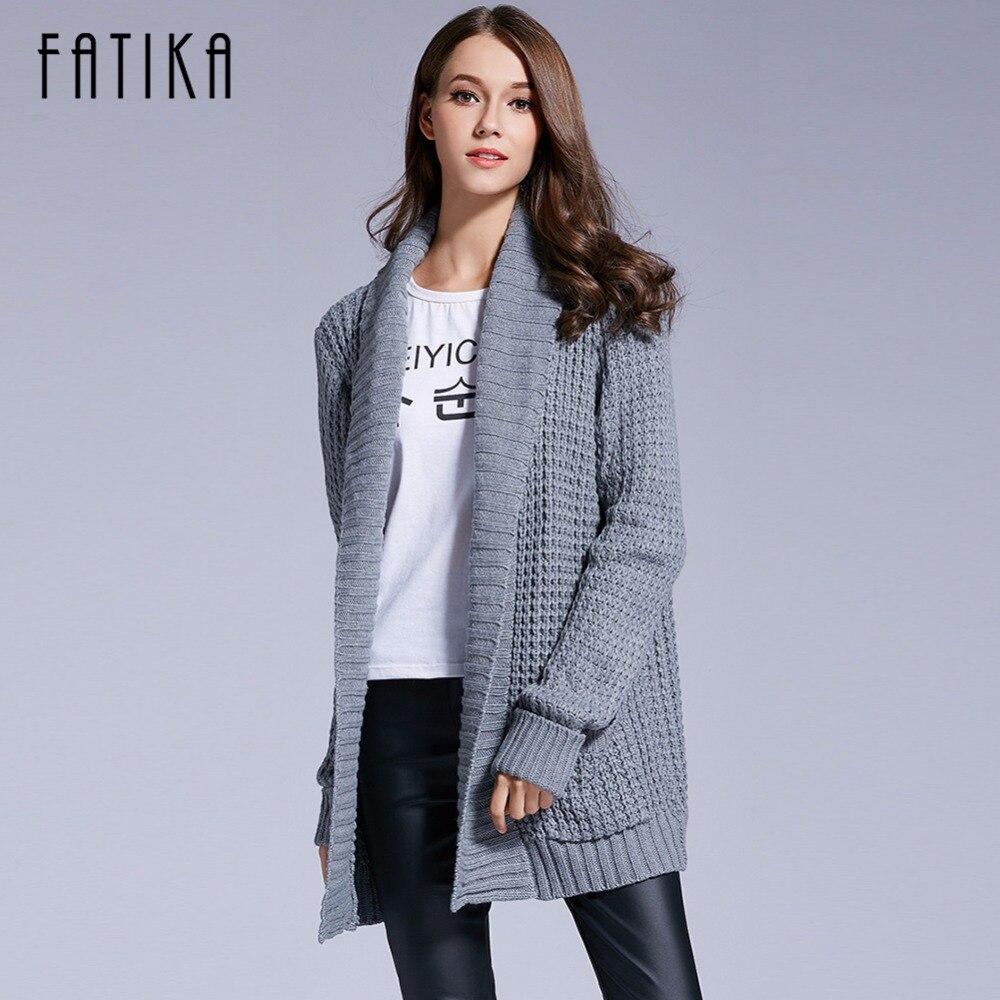 FATIKA 2017 Women's <font><b>Cardigan</b></font> Sweaters <font><b>Long</b></font> Sleeve Turn-down Collar Winter Casual Solid Pockets Knitted <font><b>Ribbed</b></font> Sweater Women